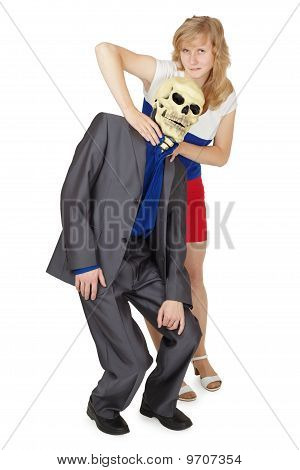 Girl Choking Man In Mask Of Death