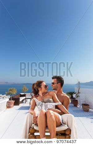 COuple on their honeymoon in Santorini Greece