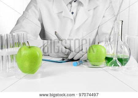 Scientist examines apples in laboratory