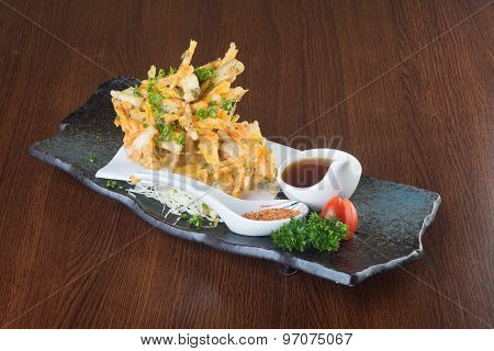 Japanese Cuisine. Tempura. Deep Fried Mix Vegetable On The Background