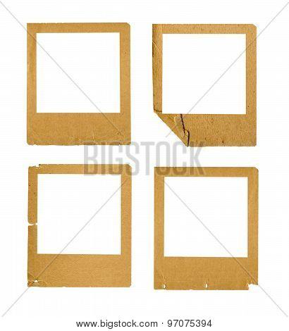 Set Of Old Paper Slides On Isolated Background