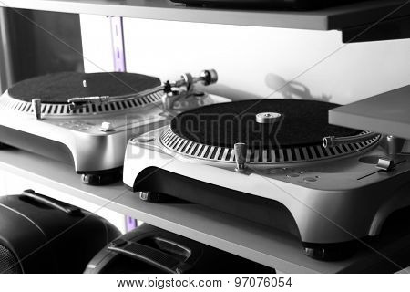 Modern turntable close up