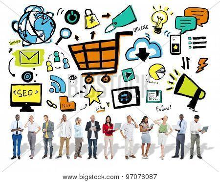 Business People Online Marketing Digital Communication Concept