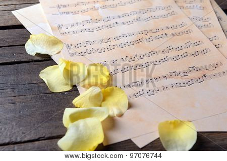 Beautiful rose petals on music sheets on wooden table, closeup