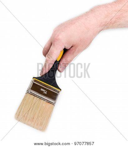 Paint Brush In Man's Hand