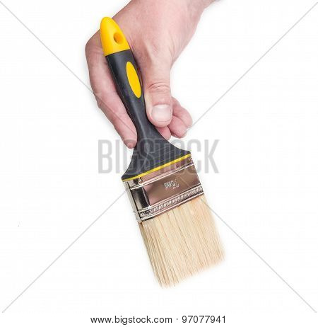 Paint Brush In Man's Hand