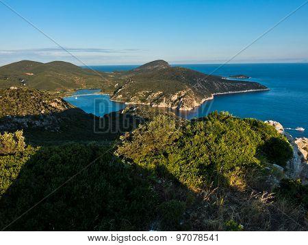 Porto Koufo harbor with a few anchored sailboats, west coast of Sithonia