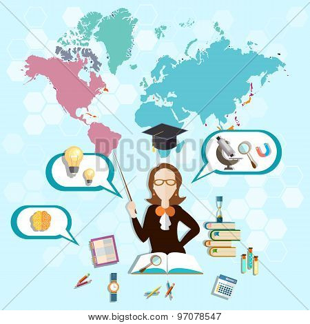 Science And Education:  Teacher, Online Training, School Board, Classroom, vector illustration