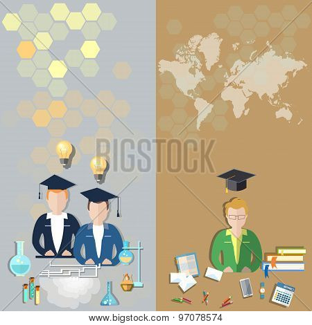 Science And Education: Students In A Classroom, World International Study, College,vector banners