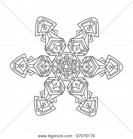 Hand-drawn Doodles Natural Snowflake. Zentangle Mandala Style.