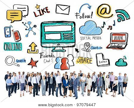 Multiethnic Group Business People Social Media Concept