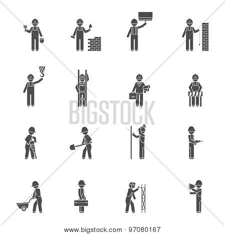 Builders Silhouette Flat Icon Set