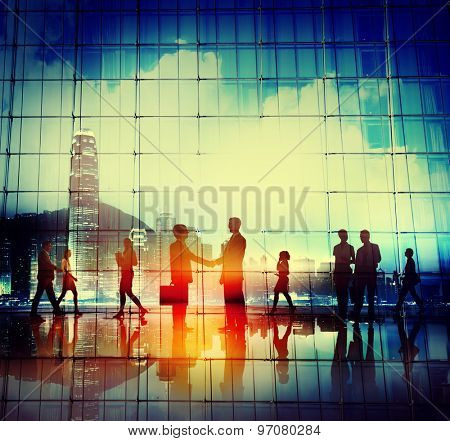 Business People Handshake Agreement Cityscape Concept