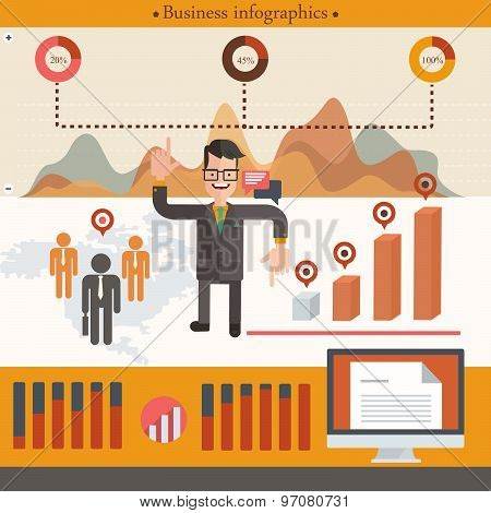 Businessman infographic with cartoon businessman. Vector illustration in flat style
