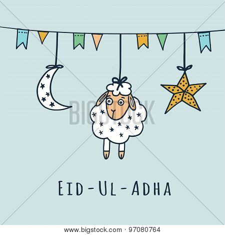 Eid-ul-adha Greeting Card With Sheep, Moon, Star, Vector