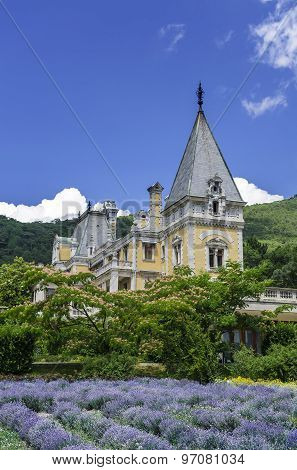 Massandra Palace, Massandra, Yalta, Crimea, Gurzuf, Russian, Gothic castle and a field of lavender.