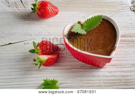 Homemade Chocolate Mousse  In A Heart-shaped Bowl On Wooden Table.