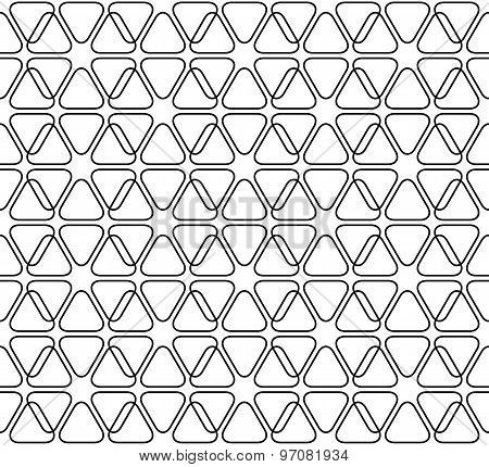Black And White Geometric Seamless Pattern With Line And Rounded Triangle, Abstract Background.