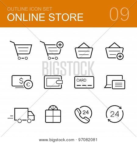 Online store vector outline icon set