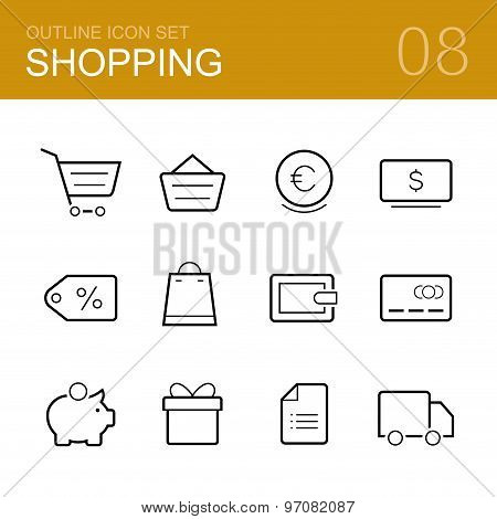 Shopping vector outline icon set