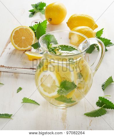 Cold Water With Fresh Lemon And Mint