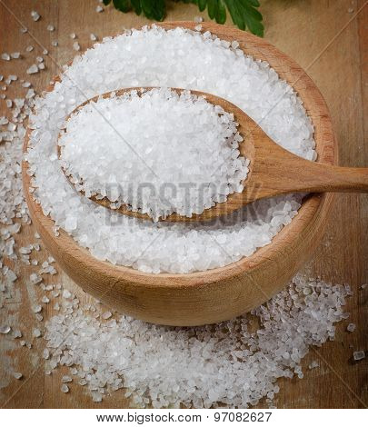 Sea Salt In A Wooden Bowl.