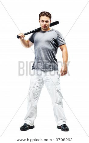Young Strong Man With Bat