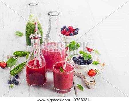 Healthy Fruit Smoothies In Glass Bottles.