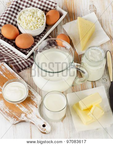 Dairy Products On  Wooden Table.