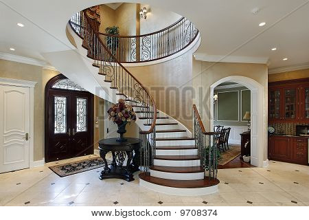 Foyer With Spiral Staircase Stock Photo & Stock Images | Bigstock
