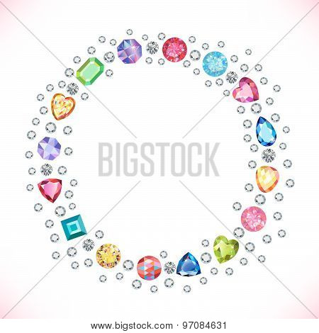 colored gems square round frame isolated on light background