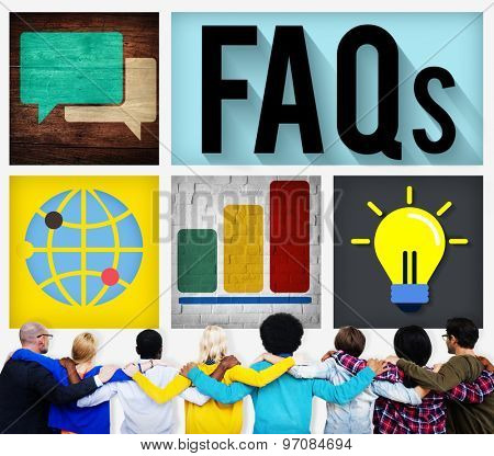 FAQs Guidance Answers Questions Feedback Concept