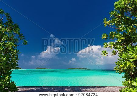 Pristine beach on tropical island during sunny day framed by green trees
