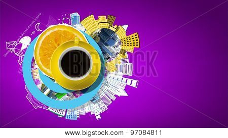 Top view of cup of coffee on color background