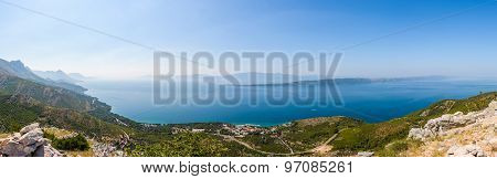 Panoramic View From Biokovo On Blato, Zivogosce, Croatia