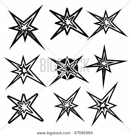 Lightning Symbols. Vector Set