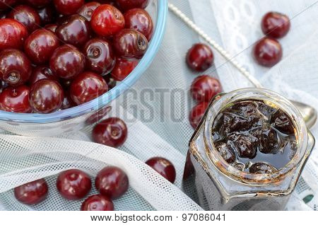 Cherry Jam And Fresh Cherries
