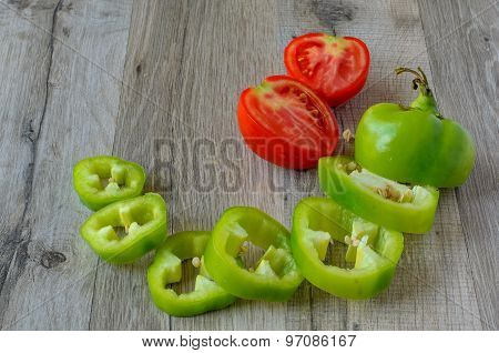 Green Pepper And Tomato