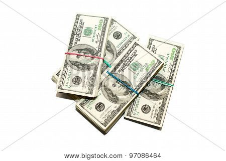 Bundles Of Us Dollars Banknotes On A White Background