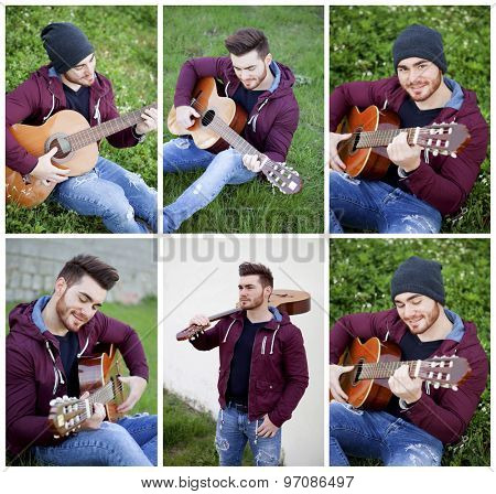 Sequence of photos. Cool boy playing the guitar in the park