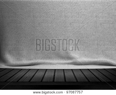 Wood table with white sackcloth