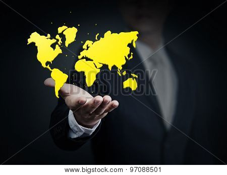 Business Man Holding A World. Business, Technology, Internet And Networking Concept.