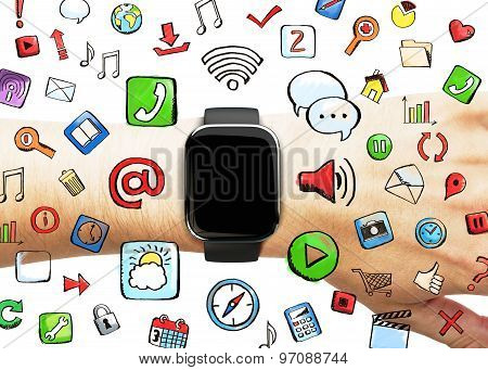 Smart Watch With Social Media Icons, Concept