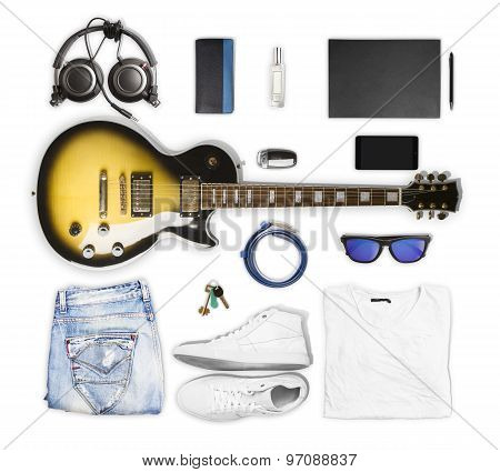Guitar And Wear And Accessories On White Background
