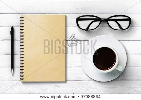 Blank Paper Diary Cup Of Coffee Glasses And Pen