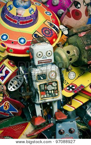 old tin toys macro image