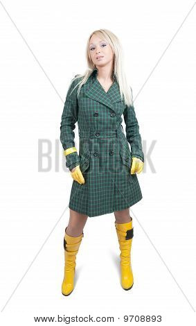 Girl  In Green Coat  Over White