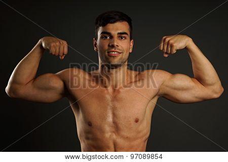 Muscular man posing