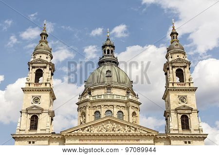 Dome and towers of  St. Stephen's Basilica, Budapest, Hungary