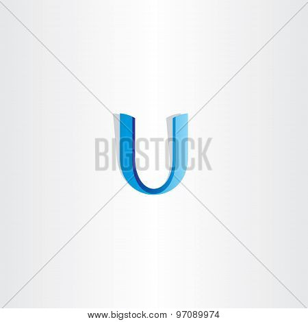 Blue Letter U Ribbon Vector Icon Element